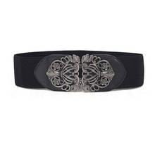 summer time and spring classic cummerbund ladies's temporary all-match belt large carved steel ornament trend elastic strap