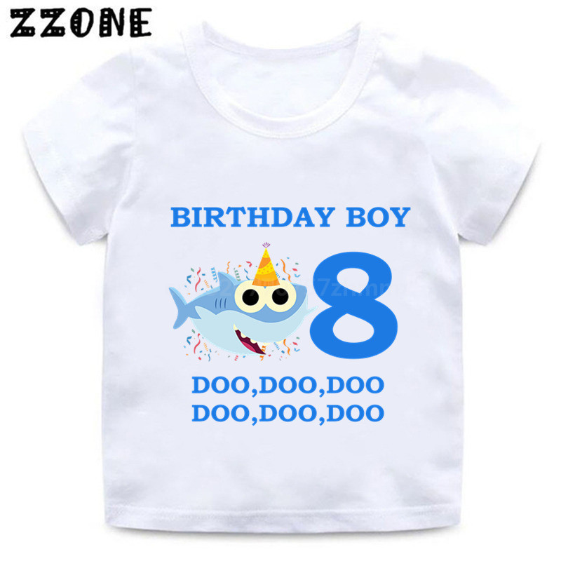df72ed87f369 Baby Shark 1 9 Number Print Cartoon Funny T shirt Kids Happy Birthday  Present T shirt Boys Girls Summer Clothes,HKP2441-in T-Shirts from Mother &  Kids