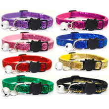 Pet Dog Sequin Collar With Bell Breakaway Fashion Sequin Puppy Small Dog Collar Neck Strap Dog Accessories Pet Supplies