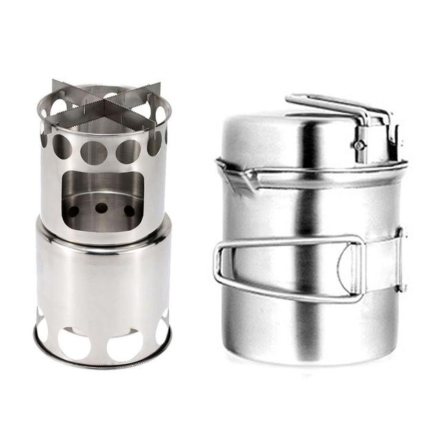 High Quality Outdoor Camping Wood Stove Set Pot Combination Set Hiking Travel Picnic Portable Stainless Steel Pot