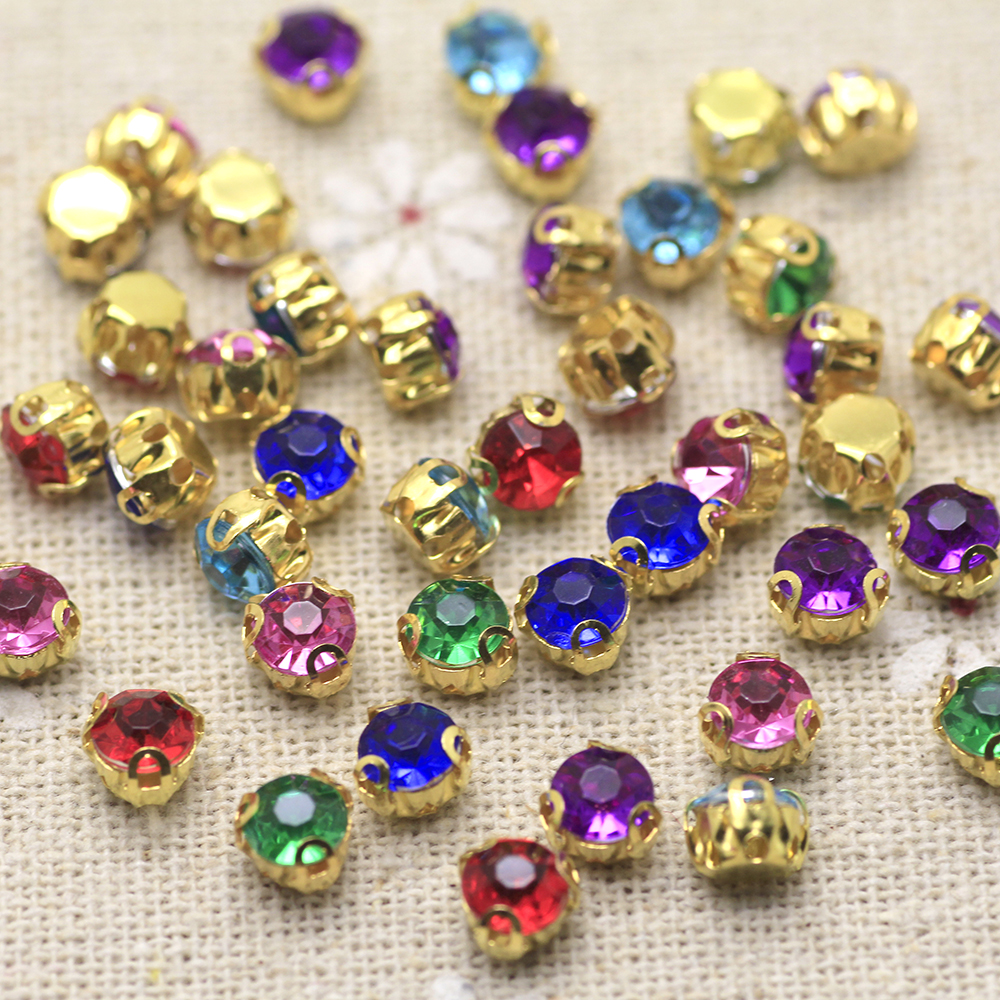 50pcs Mix Color Colorful Round Sew On Rhinestone Gold Base Claw Setting  Flat back Fancy Stone ee1ae8241902