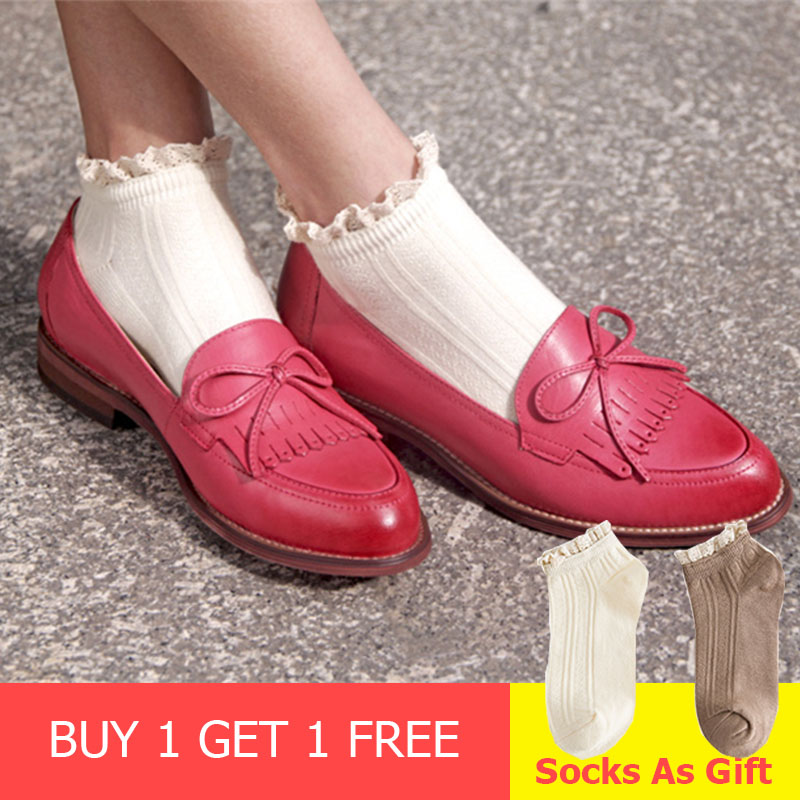 Women flat shoes 2019 genuine leather round toe flats platform brogues ladies summer woman gladiator flat
