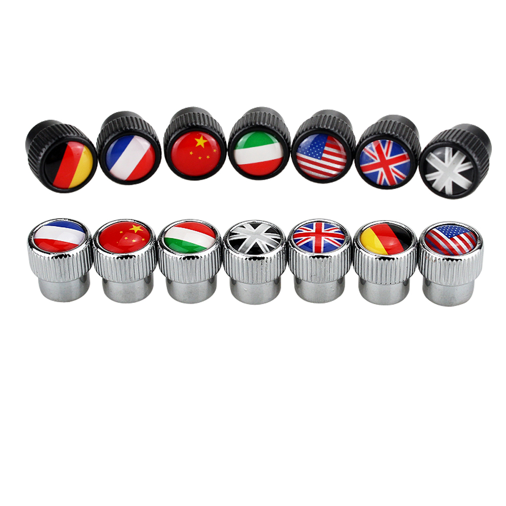 4pcs Tyre Valve Stem Caps Germay Russian France Italy UK USA Flag Tire Rim Emblem For Lada Citroen Bentley Smart Car Accessories