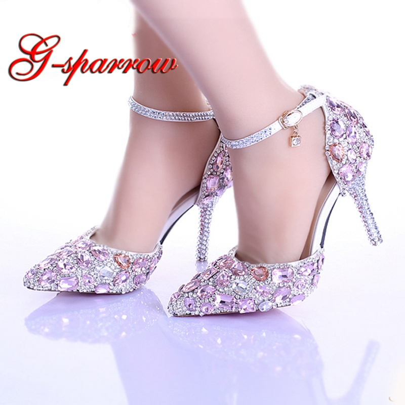 Summer New Arrival Pink Blue Crystal Bridal Shoes Ankle Strap Pointed Toe Luxury Princess Wedding Shoes Women Party Prom ShoesSummer New Arrival Pink Blue Crystal Bridal Shoes Ankle Strap Pointed Toe Luxury Princess Wedding Shoes Women Party Prom Shoes