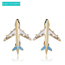 MECHOSEN Cute Enamel Airplane Stud Earrings For Women Girls Gold-color Copper Brincos English Lock Small Oorbellen Party Schmuck(China)