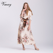 Vmay Women Fashion Floral Print Bohemian Long Dress Autumn Winter O-Neck Half Sleeve Straight Maxi Dress Sashes Female V1708085