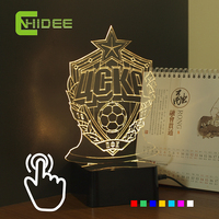 CNHIDEE Innovative Football 3D Night Lights For Russia Cska Club Seven Colors RGB Led Touch Lamp