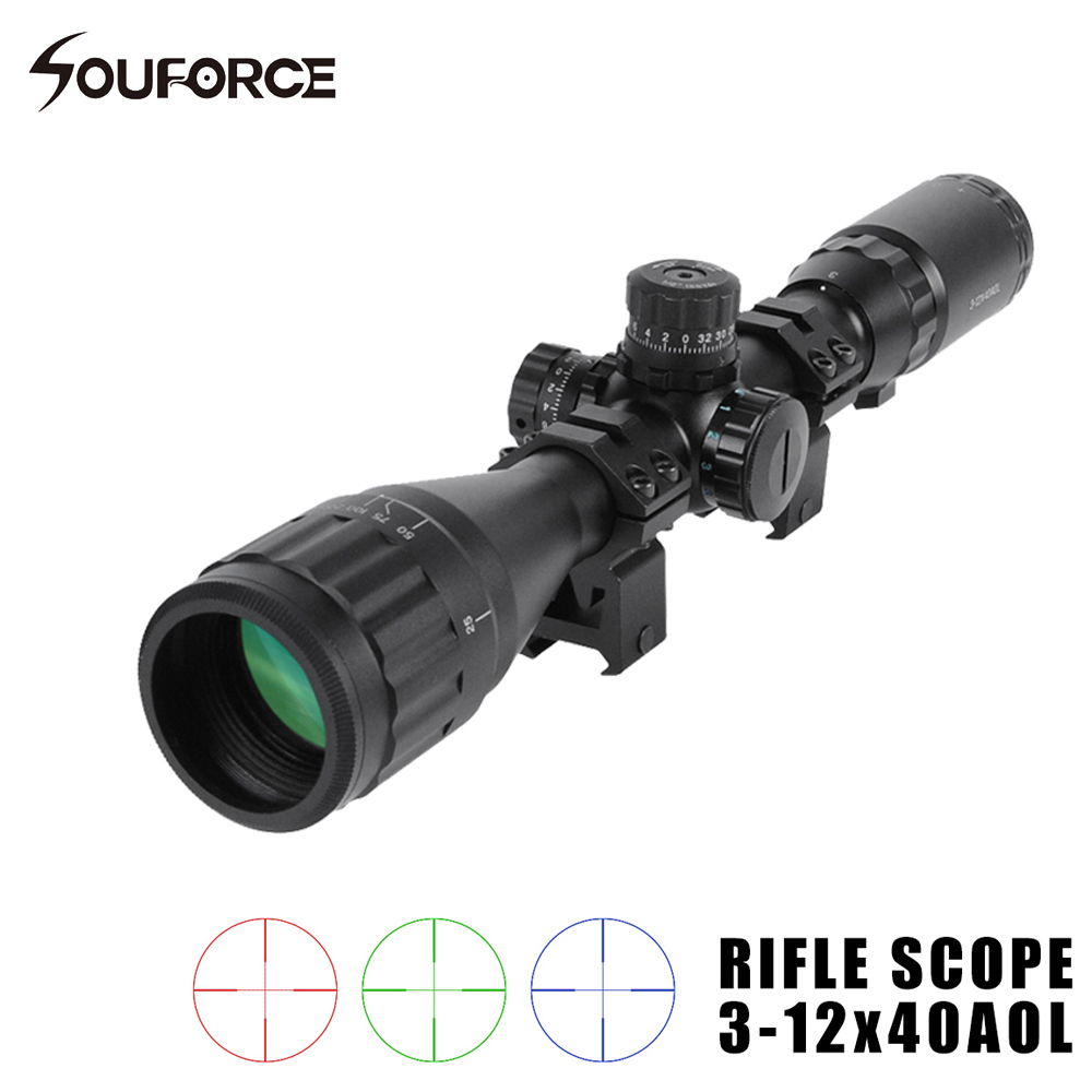 Tactical Optical Sight Riflescope 3-12X40AOL Red/Green/Blue Illuminated Reticle Compact Tube for Sniper Rifle Gun 4 16 40mm aol green lens film sight hunt telescope red green illuminated new