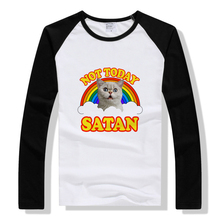 spring autumn raglan long sleeve mens t-shirt cat rainbow colorful design funny t shirts not today letter print guys tops