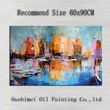 Knife Painting Single Piece Hand-painted Abstract Building Oil On Canvas Handmade Cityscape Decoration