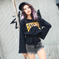 2017 spring letter print personalized bandage slim waist long-sleeve sweatshirt female loose swaetshits
