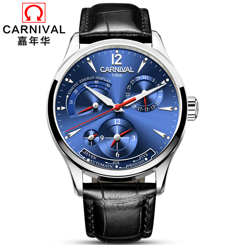 High end Business Watch men CARNIVAL Fashion Multifunction Automatic Watch With Energy display,Calendar,24hours display Luminous high end mechanical watches carnival multifunction automatic watch with 24hours calendar waterproof luminous fashion watch men