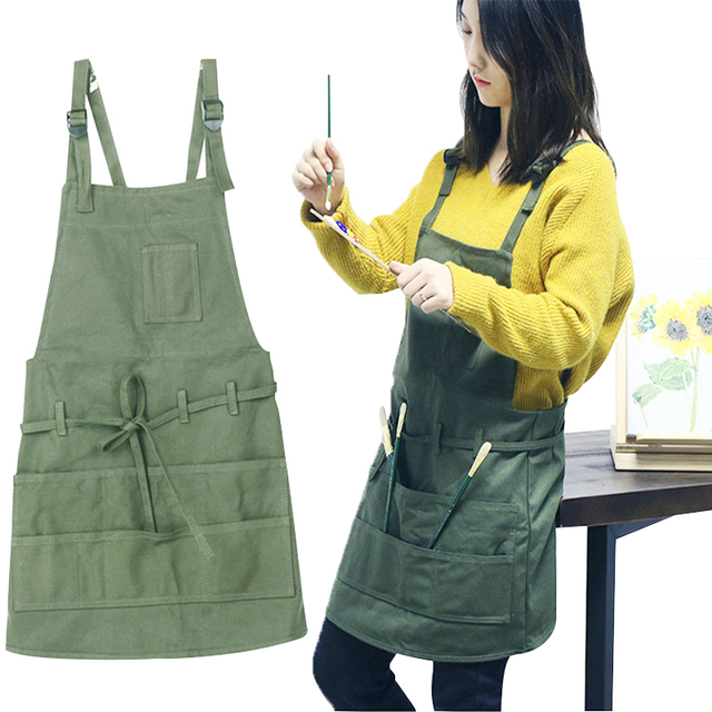 1 pcs Army Green Painting Apron Ladies Latest Cooking Pocket Canvas Apron Artist Sleeveless Oil Painting Work Anti fouling Bib