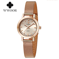 WWOOR Gold Stainless Steel Mesh Band Small Size Women S Bracelet Watches Elegant Ladies Watch Waterproof