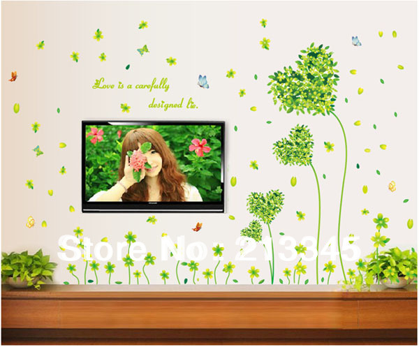 [Fundecor] cool and fresh pastoral style home living room bedroom decor wall decals gree ...