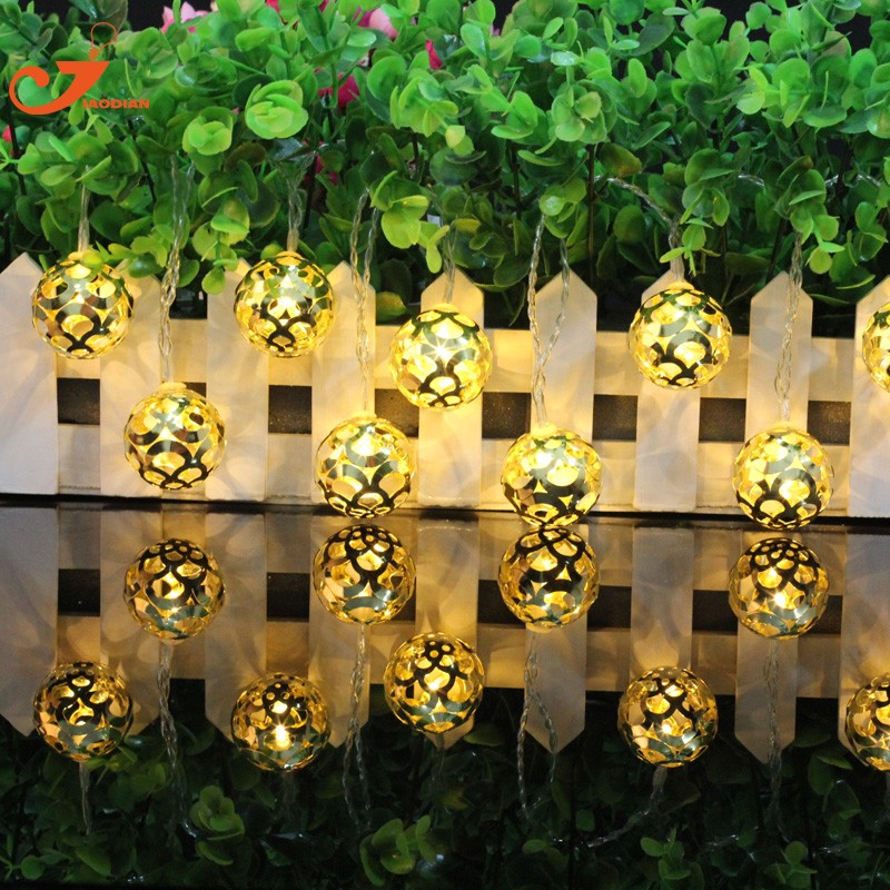 10 Leds Metallic Gold Hollow 3d Ball 9 Modes Fairy String Christmas Bedroom Lights String Light Garlands Wedding Festival Party