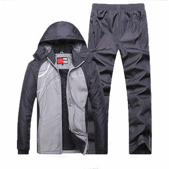 Sportssuit Men Thermal Sets Winter Workout Sport Suit Fleece Warm Tracksuit 2018 European Windproof Gym Running Sportswear Set - DISCOUNT ITEM  43% OFF Sports & Entertainment