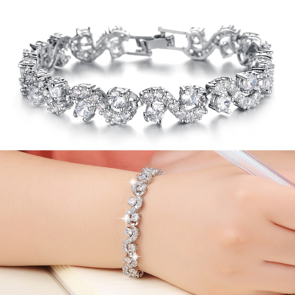 23a4d306ec40 Fashion Woman Jewelry Luxury Shining Cubic Zirconia Rome Charm Bracelet  Delicate Crystal Bangles DS931B-in Charm Bracelets from Jewelry &  Accessories on ...