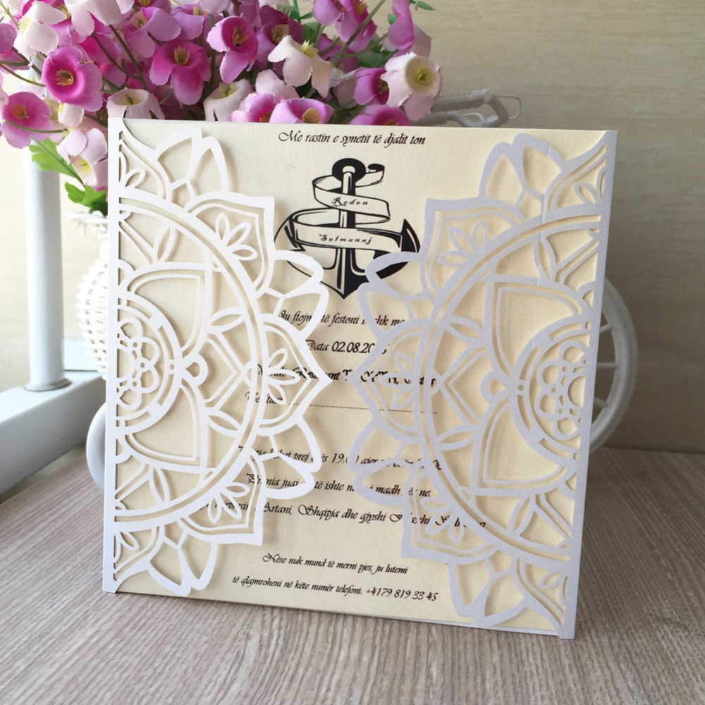 30pcs Laser Cut Pearl Paper Modern Design Wedding Invitations Cards ...