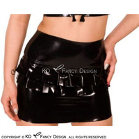 Black Sexy Mini Latex Skirts With Ruffles And Zipper At Back Rubber Skirt Bottoms DQ 0043