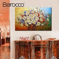 Frameless beautiful flower picture on wall art oil painting on canvas MC0618 abstract hand painted landscape paintings