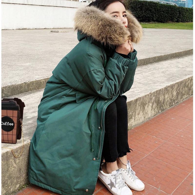 Coton Coréen Femme Moyen Femelle Fourrure Long Manteau Mode Lâche Hiver Couleur En 2019 Jacket white De Solide Épais Grand Nouvelle Xy080 Green Col 54jS3RcALq