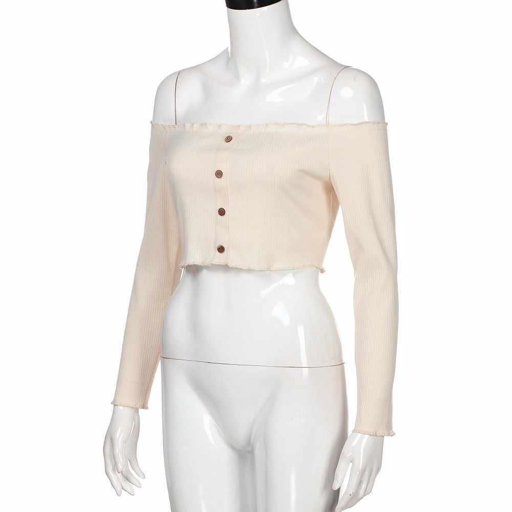 Womail Для женщин топ Летняя мода Повседневное пикантные однотонные без бретелек с открытыми плечами Короткие топы Повседневная рубашка Для женщин футболка 2019 dropship f1