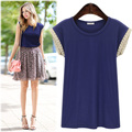 2016 Basic T shirt Women Lace Crochet Loose Women Tops Cotton Stretchy Royal Blue Short Sleeve S-XL blusas femininas T6612