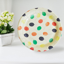 10pcs Disposable Paper Plates Party Supplies Cake Fruit Dishes Tableware New year Wedding Birthday