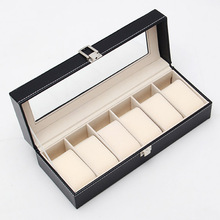IMC High Quality Solid black formal Display Case 6 Grids Watches Box Packing Gift Box for Watches