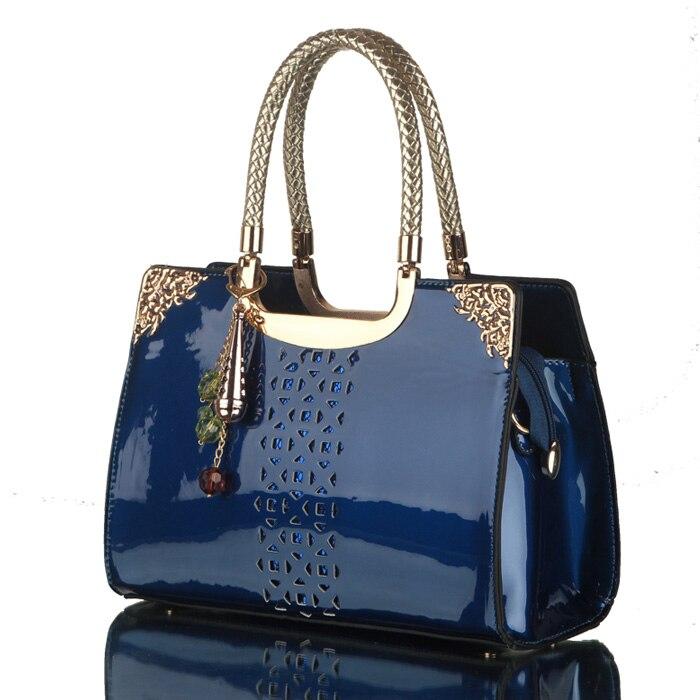ФОТО 2017 Hot Sale Model simple Fashion Handbags Bright Skin Hollow Women Tote Luxury Business Handbag Ladies Top-handle Large Bag