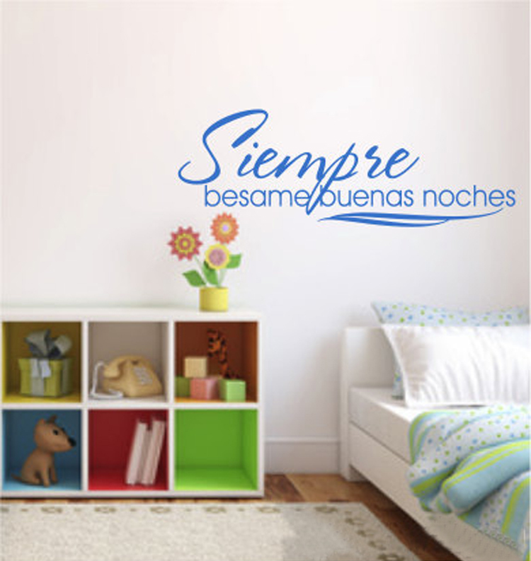spanish quote siempre besame buenas noches always kiss me goodnight vinyl wall art vinyl lettering decal letras decoracion