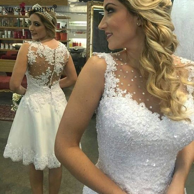 White Lace Applique Short Wedding Dresses Cheap Sheer Beaded Knee Length Wedding Gowns Sleevesless SINGLE ELEMENT