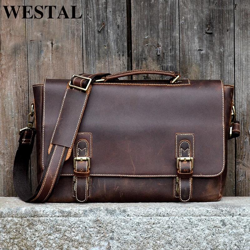 WESTAL Genuine Leather Briefcase Fashion Handbags For Man Documents Bag For Men Travel Bags Men Leather Laptop Bag Briefcases