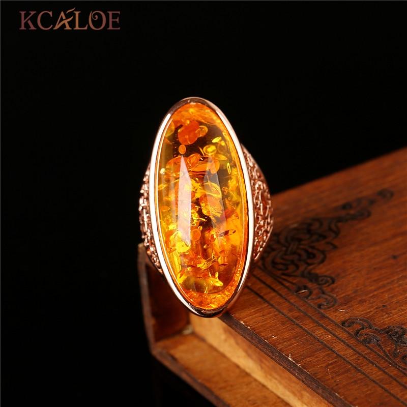 KCALOE natuursteen gele stenen Ring Rose goud kleur sieraden bagues - Mode-sieraden - Foto 2
