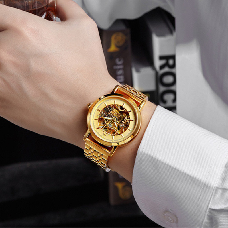 SOLLEN Mechanical Watches Men Skeleton Gold Watch Automatic Mechanical Men Watches Waterproof Self-winding Clock Stainless Steel nbw0he6767 men s stainless steel skeleton mechanical self winding analog wrist watch grey white