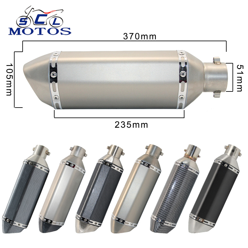 Sclmotos- 35-51mm Motorcycle Scooter ATV Exhaust Muffler Pipe Escape Moto for Honda CBR250 CB400 YZF FZ400 Z750 NINJA TMAX530(China)