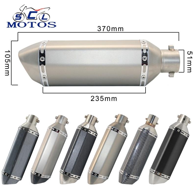 Sclmotos- 35-51 мм глушитель выхлопной трубы для мотоцикла, скутера, квадроцикла, для Honda CBR250 CB400 YZF FZ400 Z750 NINJA TMAX530