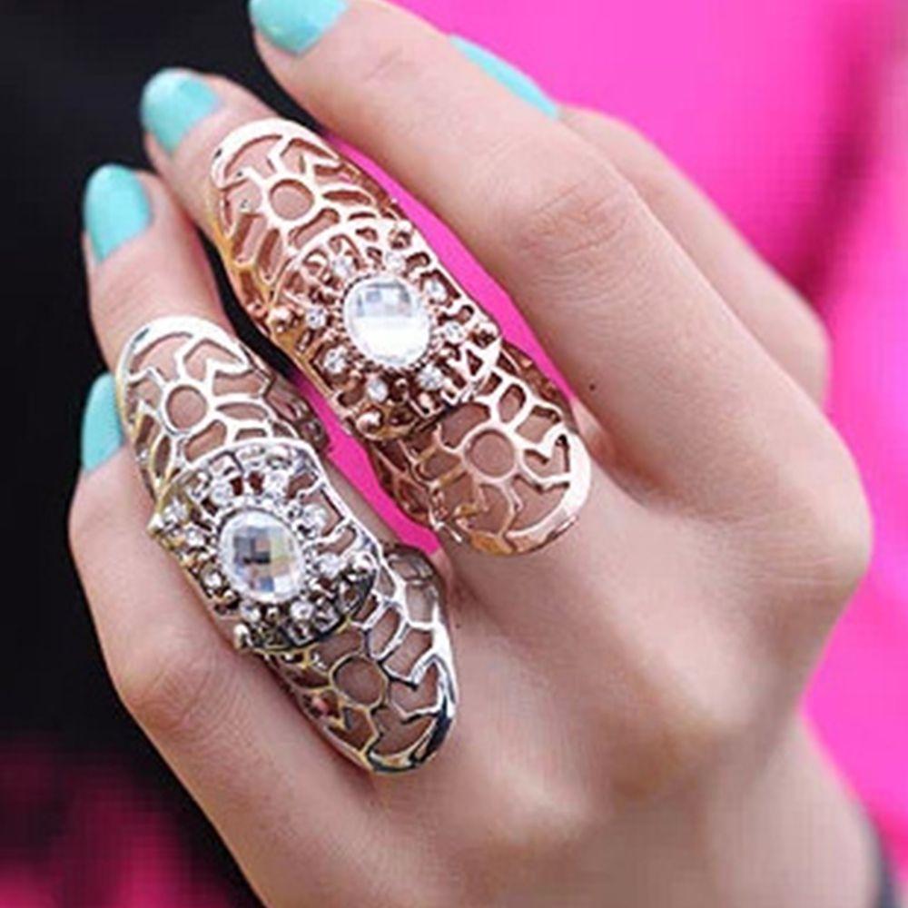 Новинка 1 шт. крутые кольца на весь палец для женщин/мужчин модные ювелирные изделия полые панк Рок прокрутка соединение кристалл кольцо для...