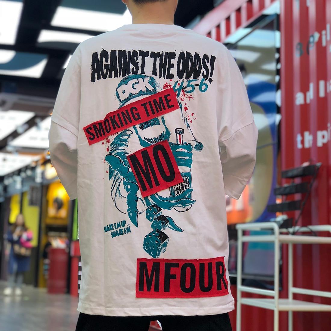 AELFRIC クレイジーおかしいスカルプリント半袖 Tシャツストリート 2019 夏のファッション原宿ヒップホップカジュアル Tシャツ男性トップス  グループ上の メンズ服 からの Tシャツ の中 2