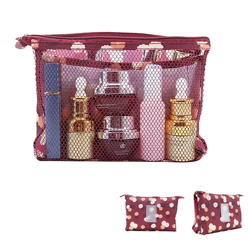 Women Multifunction Mesh Make up Bags Travel Lady Storage Cosmetic Toiletry Bag Organizer Purse Pouch Clutch Bags