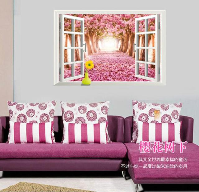 Warm Romantic Flowering Cherry 3D False Window Scenery DIY Wall ...