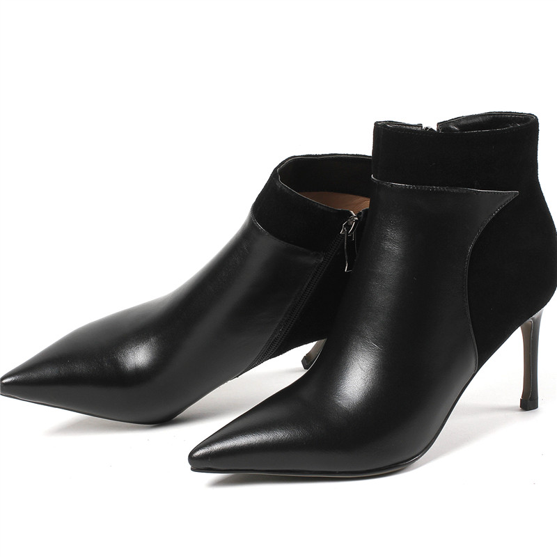 En Femmes Bout 2018 Noir Noir Troupeau Cuir Nouveau Aiguilles Pointu Gris Suede Élégant dark Mode Bottes Smirnova Gray Cheville Talons Femme w8OXNP0nk