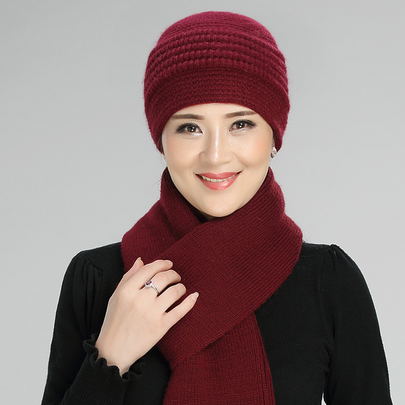 Rabbit Hair Knitted Wool Hat Women Middle-aged Elderly Winter Grandma Cap Mother Warm Soft Fashion Casual Pure Color Scarf H7169