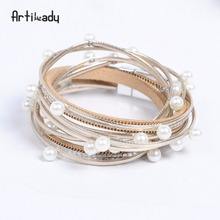 Artilady wrap leather bangle charm leather bracelet with simulated pearl 2 layer women jewelry gift