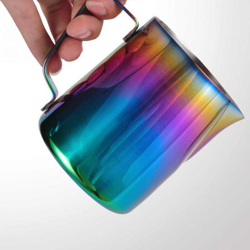 ใหม่มาถึง 350 ml/600 ml จับหูถ้วยเหยือกตีฟองนมสแตนเลส Pour Over Coffee Pitcher ดึงดอกไม้พื้นผิวที่มีสีสัน