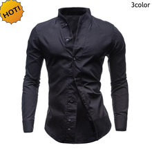 купить New 2016 Fashion Autumn Men's Solid Color Long Sleeve Dress Shirts Slim Fit Camisa Masculina Brand-clothing Hombre Homme M-XXL по цене 760.73 рублей