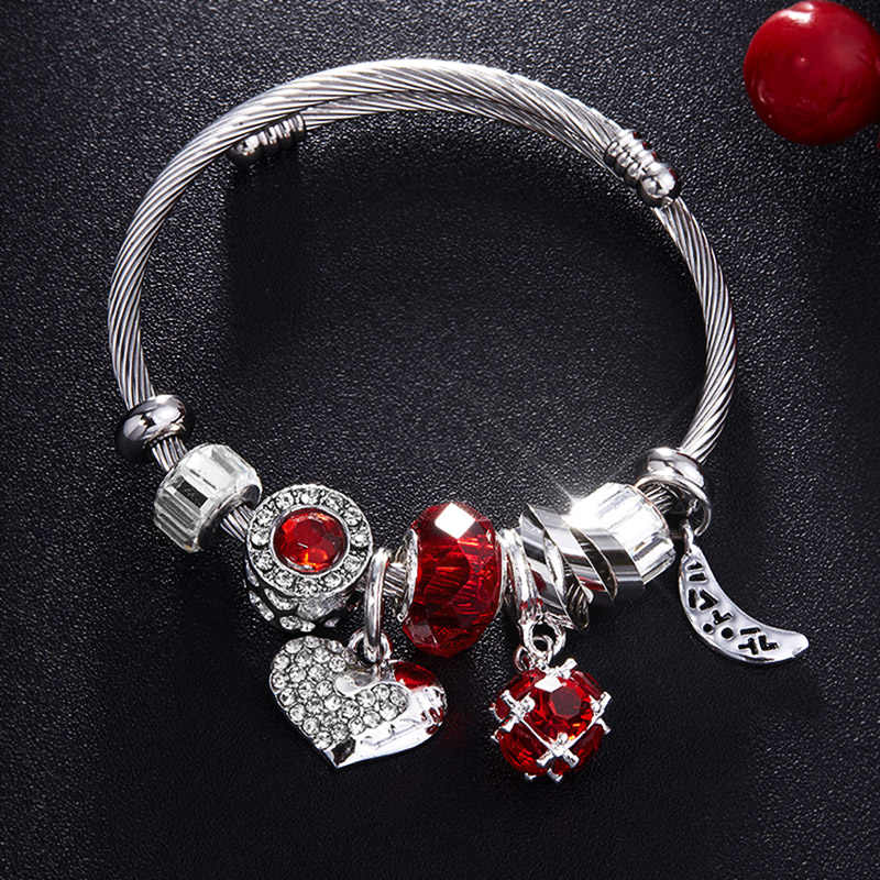 RAVIMOUR Love Heart DIY Bracelet Crystal Bead Charms Bracelets & Bangles Fashion Indian Jewelry Steel Chain Wristband Brand Gift
