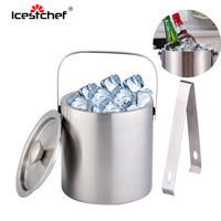 ICESTCHEF 1.3L Stainless Steel Champagne Bucket With Ice Tongs Double Wall Ice Bucket Champagne Container Bar Tools