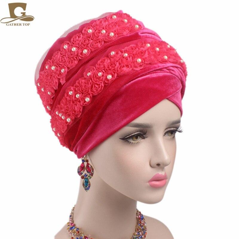 3D Flower Beaded Long Velvet Turban Head Wrap Women African Head Scarf Purple Size fits All